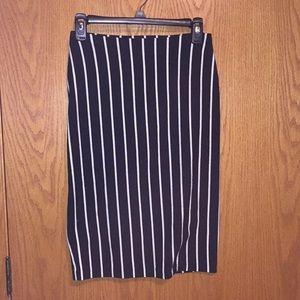 Betsey Johnson black bodycon skirt w/white stripes